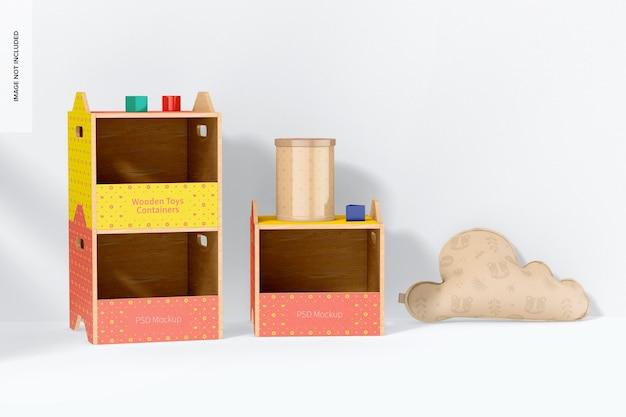 Makieta pojemnika na zabawki drewniane, widok z przodu