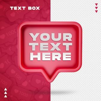 Makieta pola tekstowego w renderowaniu 3d na białym tle