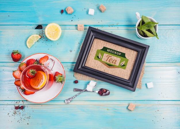 Makieta porannej herbaty z widokiem z góry
