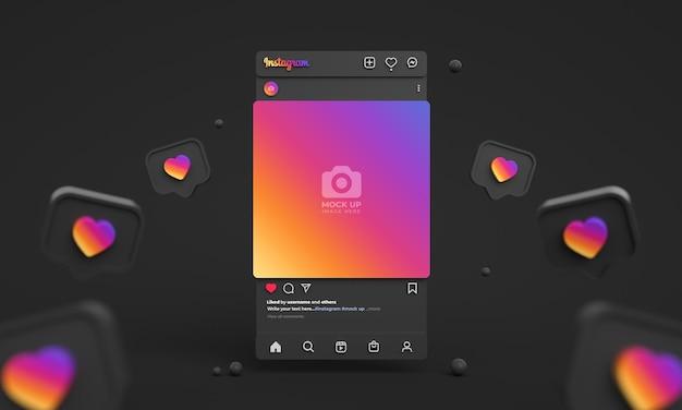 Makieta postów na instagramie dla mediów społecznościowych z ciemnym interfejsem 3d i kanałem instagram