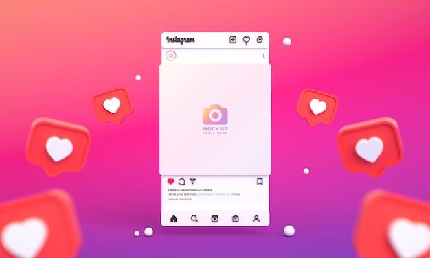 Makieta postów na instagramie dla mediów społecznościowych z interfejsem świetlnym 3d i kanałem instagram