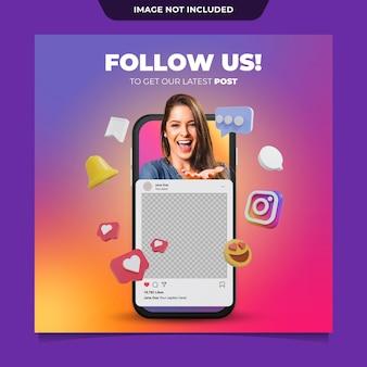 Makieta postów na instagramie w mediach społecznościowych