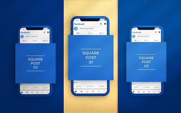 Makieta postów w mediach społecznościowych z interfejsem facebook i telefonem renderowanym w 3d