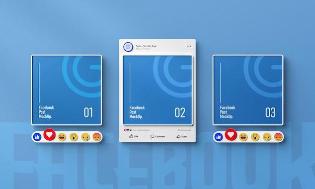 Makieta postu na facebooku w mediach społecznościowych 3d renderowany interfejs izolowany