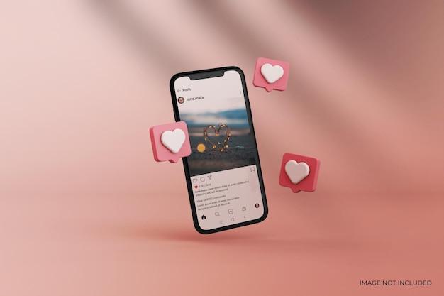 Makieta postu na instagramie na smartfonie