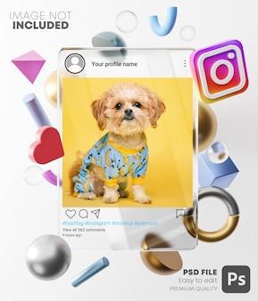 Makieta postu na instagramie na szklanej ramce między nowoczesnymi kształtami 3d. na jasnym tle