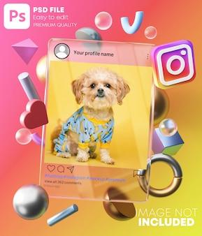 Makieta postu na instagramie na szklanej ramce między nowoczesnymi kształtami 3d. na kolorowym tle