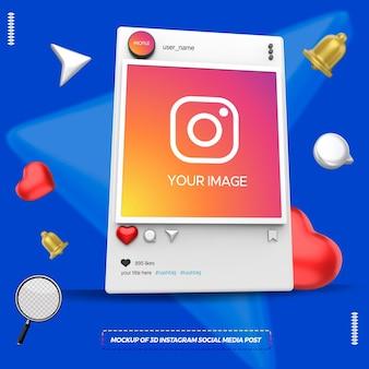 Makieta postu w mediach społecznościowych 3d instagram