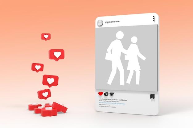 Makieta postu w mediach społecznościowych 3d na instagramie