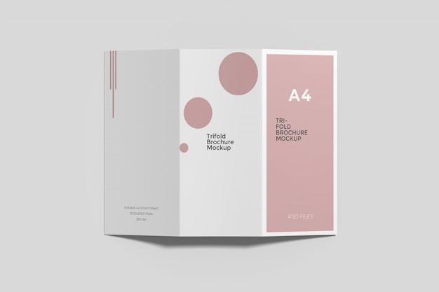 Makieta potrójnej broszury a4 widok z góry anioł