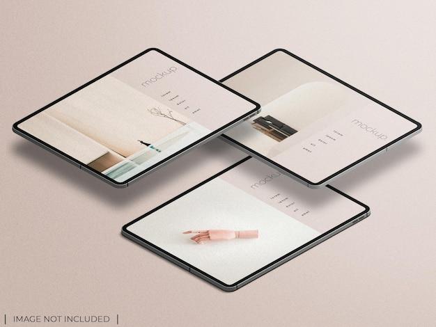 Makieta prezentacji aplikacji na wielu ekranach z izolowanym widokiem izometrycznym rysika ołówkowego