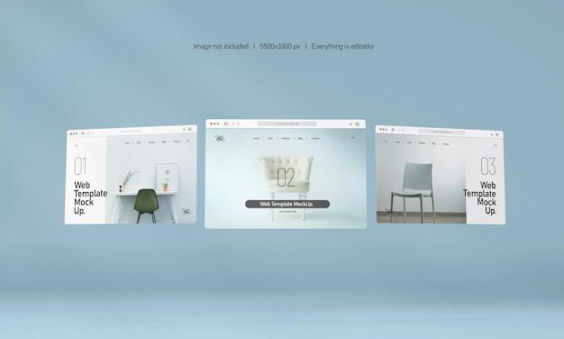 Makieta prezentacji strony internetowej na białym tle