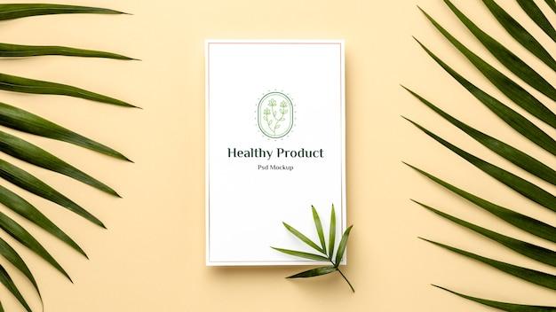 Makieta produktu naturalnego z liśćmi