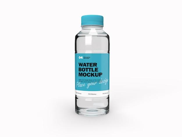 Makieta projektu opakowania 3d przezroczystej butelki na wodę