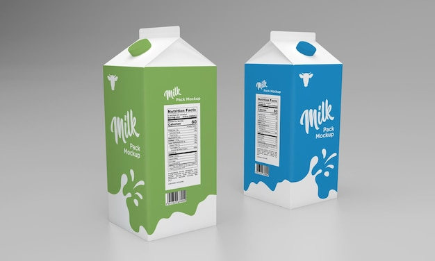 Makieta projektu opakowania opakowania jednolitrowego z dwoma opakowaniami mleka