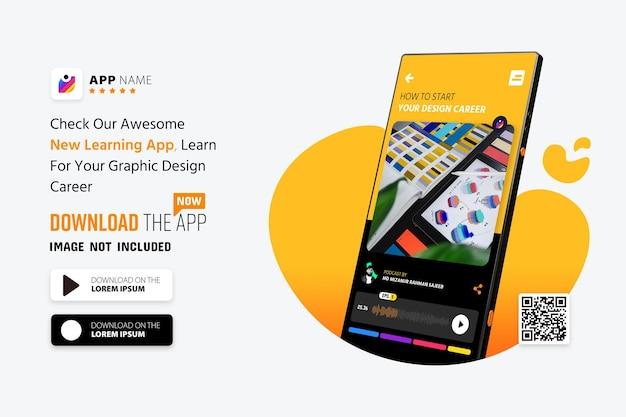 Makieta promocji aplikacji na smartfony, logo i przyciski pobierania ze skanowaniem kodu qr