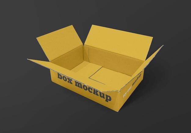Makieta prostokątnego pudełka dostawy na białym tle