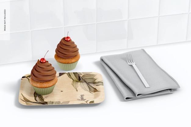 Makieta prostokątnego talerza deserowego