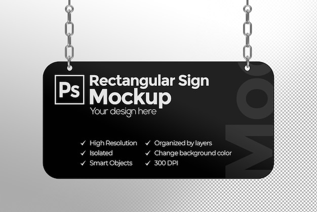 Makieta prostokątnego znaku z łańcuszkami do reklamy lub brandingu