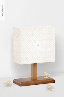 Makieta prostokątnej drewnianej lampy stołowej, widok z lewej