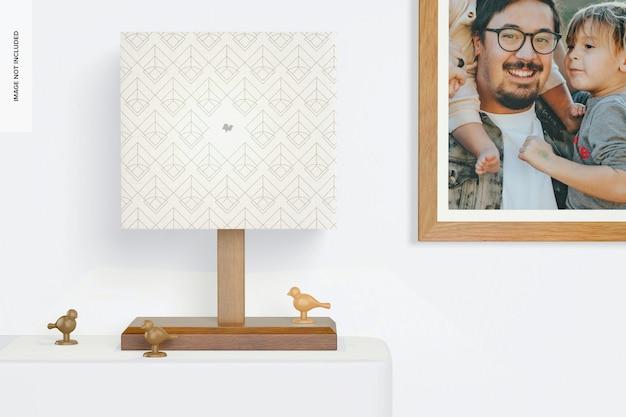Makieta prostokątnej drewnianej lampy stołowej, widok z przodu