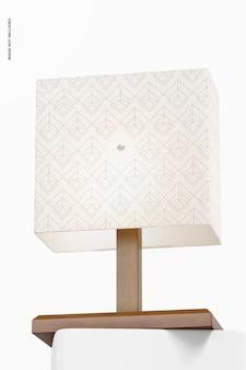 Makieta prostokątnej lampy stołowej z drewna, niski kąt widzenia