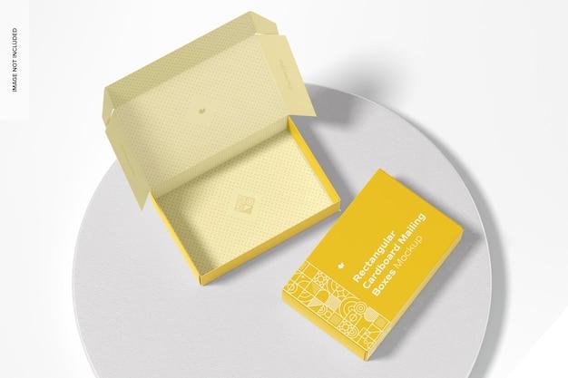 Makieta prostokątnych pudełek kartonowych, widok z góry