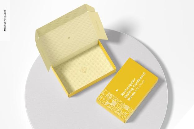 Makieta prostokątnych pudełek pocztowych, widok z góry