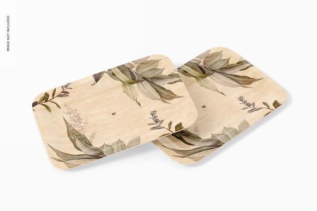 Makieta prostokątnych talerzy deserowych, ułożona w stos