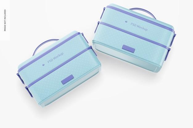Makieta przenośnych elektrycznych pudełek śniadaniowych, widok z góry