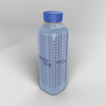 Makieta przezroczysta butelka kwadratowego mleka na białym tle