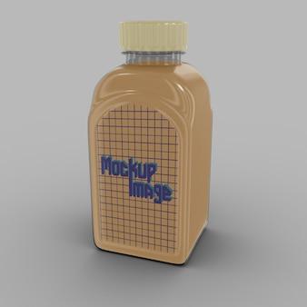 Makieta przezroczysty kwadrat butelki na białym tle