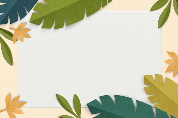 Makieta psd z zielonym liściem w stylu rękodzieła papierowego