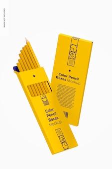 Makieta pudełek kolorowych ołówków, spada
