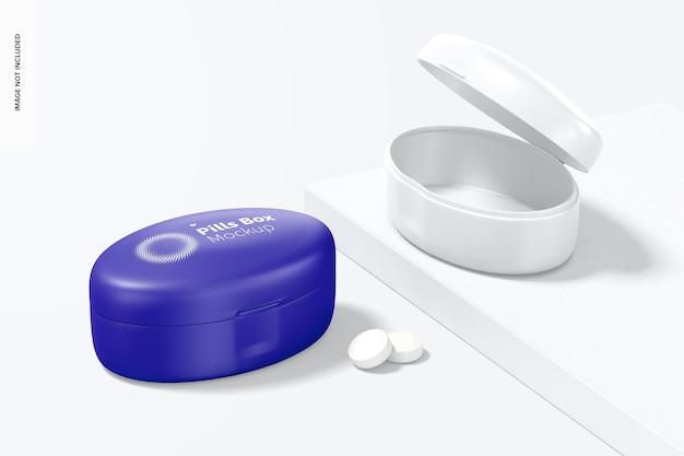 Makieta pudełek na tabletki owalne, otwierane i zamykane