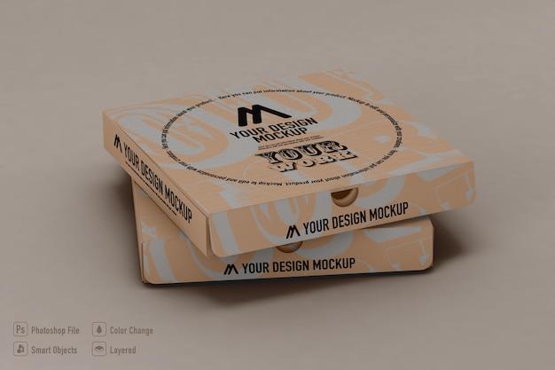 Makieta pudełek po pizzy na białym tle projekt