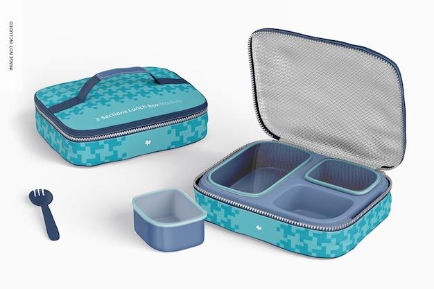 Makieta pudełek śniadaniowych z trzema sekcjami, otwieranych i zamykanych