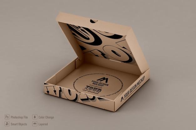 Makieta pudełka do pizzy na białym tle projekt