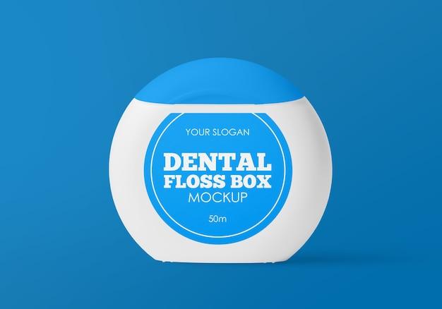 Makieta pudełka nici dentystycznej na białym tle