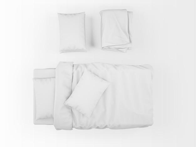 Makieta puste białe łóżko na widok z góry