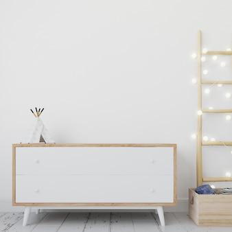 Makieta puste białe ramki na drewnianym stole