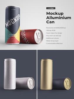Makieta puszka aluminiowa 250 ml z kroplami wody. projektowanie jest łatwe w dostosowywaniu projektu obrazów (na puszce), kolorowego tła, edytowalnego odbicia, kolorowej puszki i czapki, kropli wody.