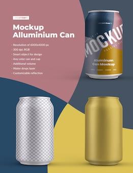 Makieta puszka aluminiowa 330 ml z kroplami wody. projektowanie jest łatwe w dostosowywaniu projektu obrazów (na puszce), kolorowego tła, edytowalnego odbicia, kolorowej puszki i czapki, kropli wody