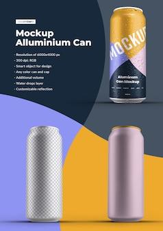 Makieta puszka aluminiowa 500 ml z kroplami wody. projektowanie jest łatwe w dostosowywaniu projektu obrazów (na puszce), kolorowego tła, edytowalnego odbicia, kolorowej puszki i czapki, kropli wody
