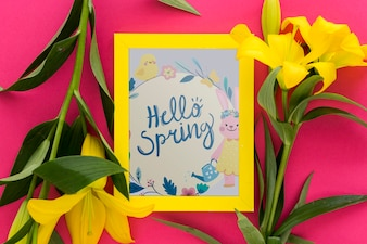 Makieta rama świeckich płaskich z wiosennych kwiatów