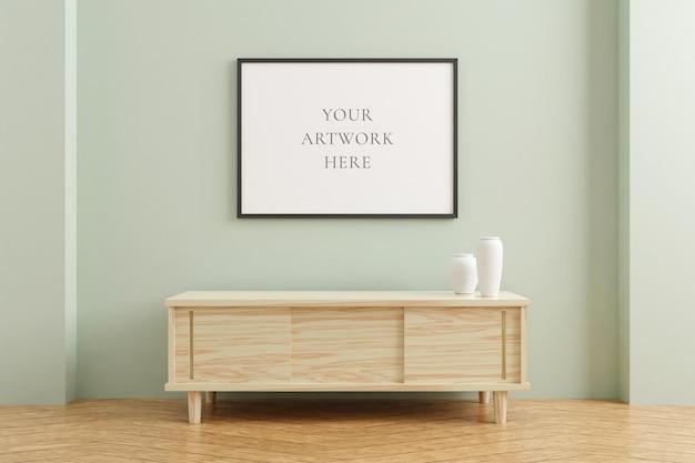 Makieta rama czarny poziomy plakat na drewnianym stole we wnętrzu salonu na tle ściany pusty pastelowy kolor. renderowanie 3d.