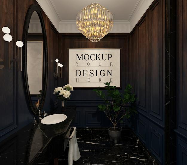 Makieta rama plakatowa w luksusowym pokoju w proszku