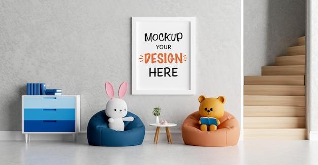 Makieta rama plakatowa z uroczym misiem i królikiem na baby shower renderowania 3d