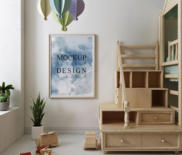 Makieta ramka na zdjęcia w nowoczesnym pokoju zabaw dla dzieci
