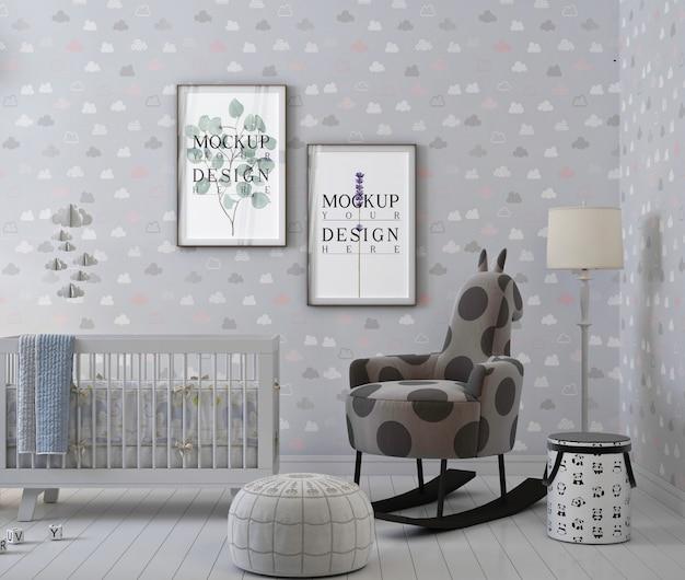 Makieta ramka na zdjęcia w prostym pokoju dziecięcym